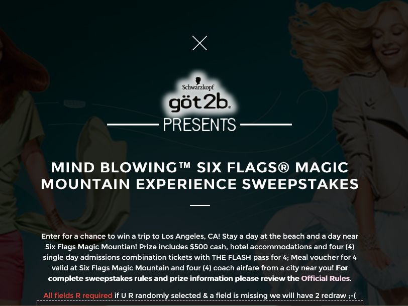 göt2b mind blowing Six Flags Magic Mountain Experience Sweepstakes
