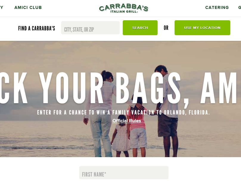 "The Carrabba's ""Orlando Family Vacation"" Sweepstakes – Select States"