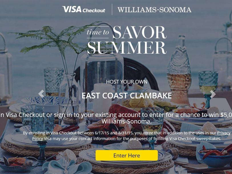 The Visa Checkout 2015 Williams-Sonoma Sweepstakes