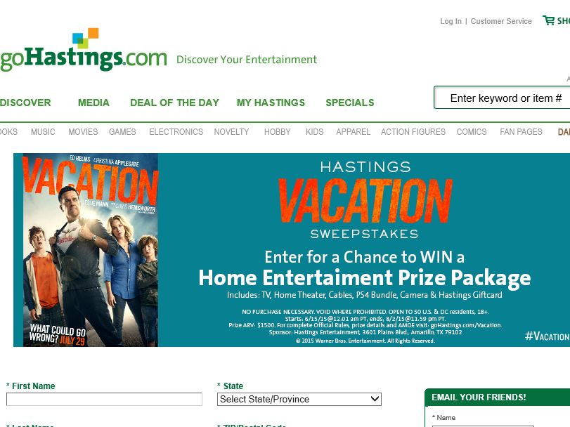"""Hastings Vacation """"Win a Home Entertainment Prize Package"""" Sweepstakes"""