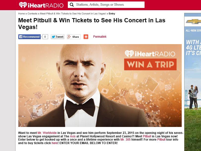 iHeartRadio See Pitbull in Las Vegas! Sweepstakes