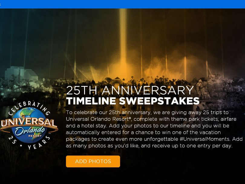 The Universal Orlando 25th Anniversary Timeline Sweepstakes