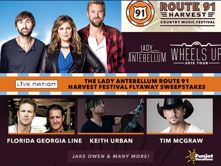 The Lady Antebellum Route 91 Harvest Festival Flyaway Sweepstakes