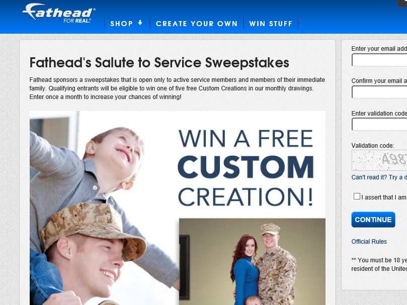 Fathead's Salute to Service Sweepstakes