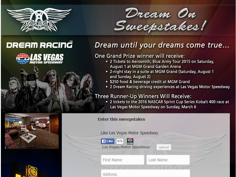 "The ""Las Vegas Motor Speedway Dream On"" sweepstakes"
