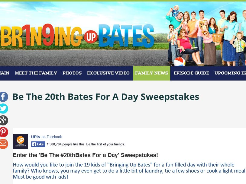 """The """"Be the 20th Bates for a Day"""" Sweepstakes"""