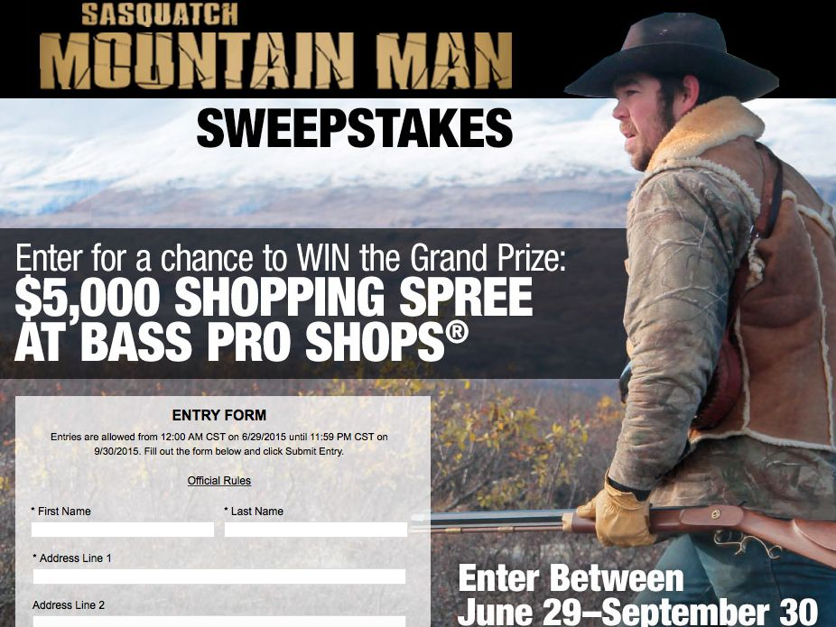 Bass Pro Shops Mountain Man Sweepstakes