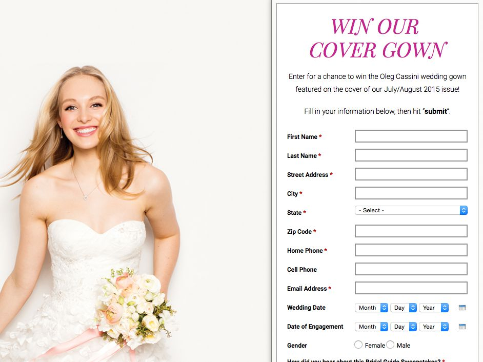 Bridal Guide Cover Gown Sweepstakes