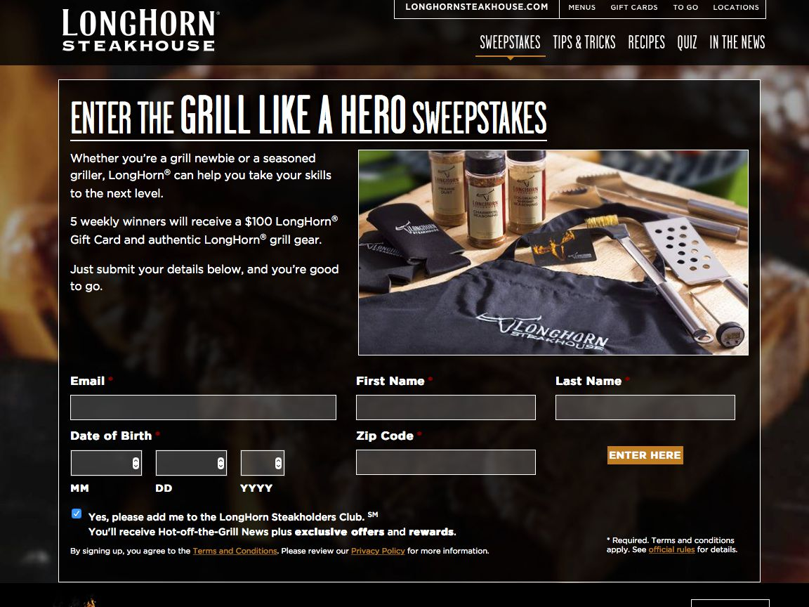 LongHorn Steakhouse Grill Like a Hero Sweepstakes