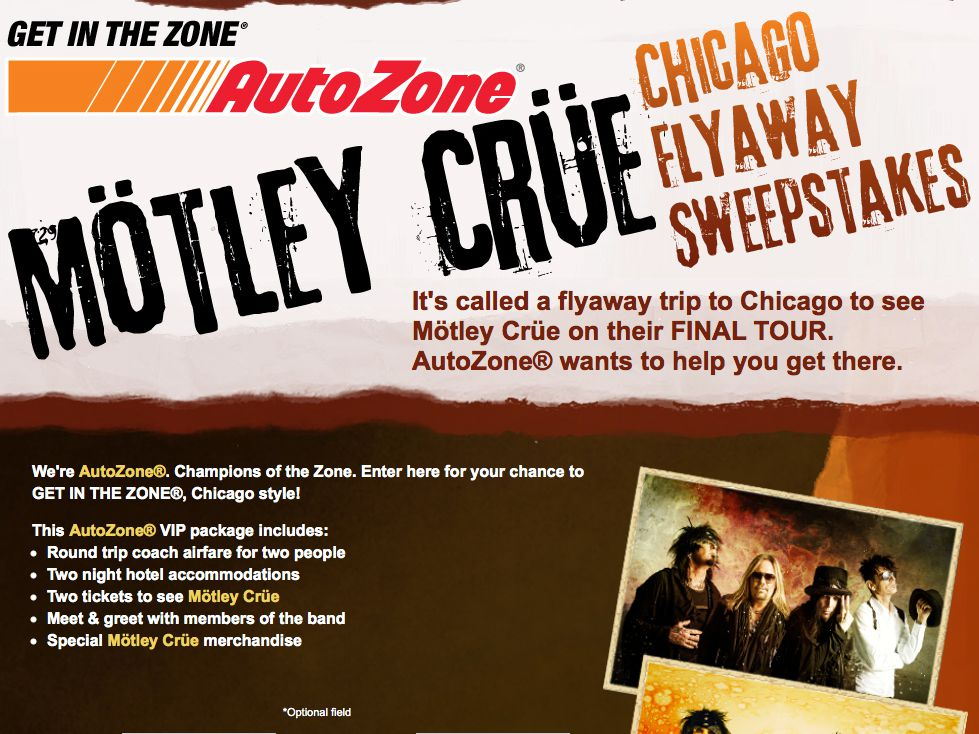The MÖTLEY CRÜE Get In The Zone with AutoZone Chicago Flyaway Sweepstakes