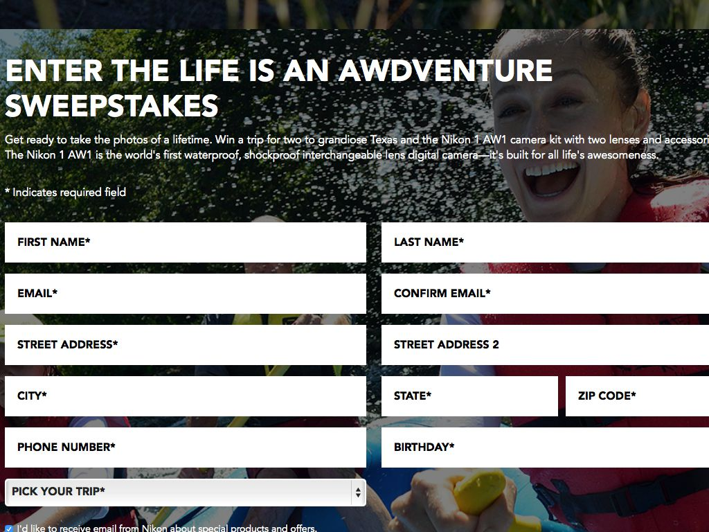 Life is an AWDVENTURE Sweepstakes