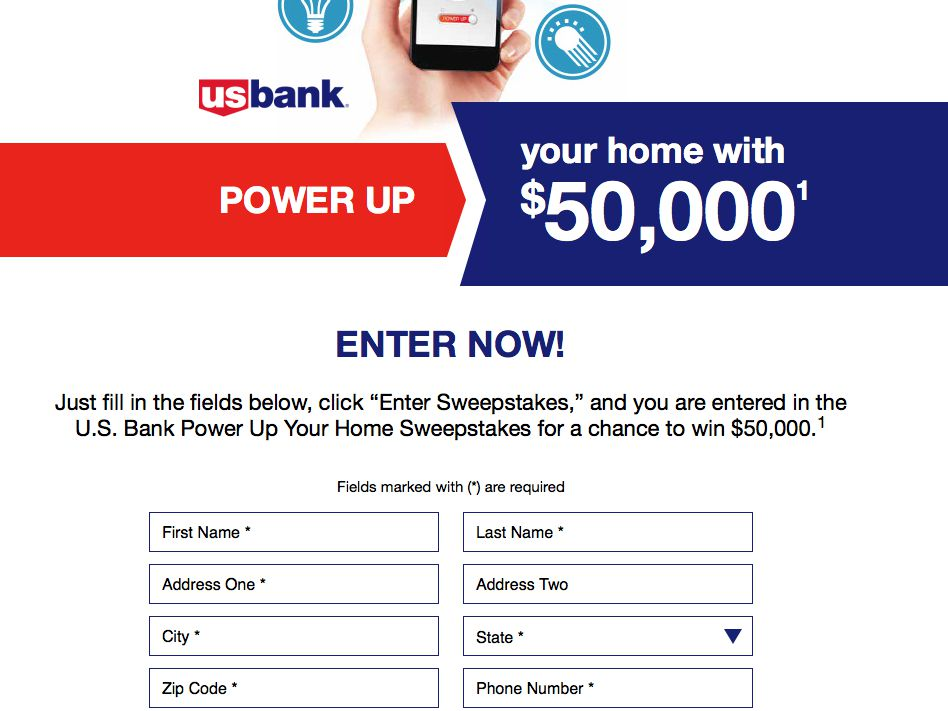 U.S. Bank Power Up Your Home Sweepstakes