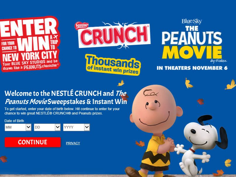 NESTLÉ CRUNCH and The Peanuts Movie Sweepstakes