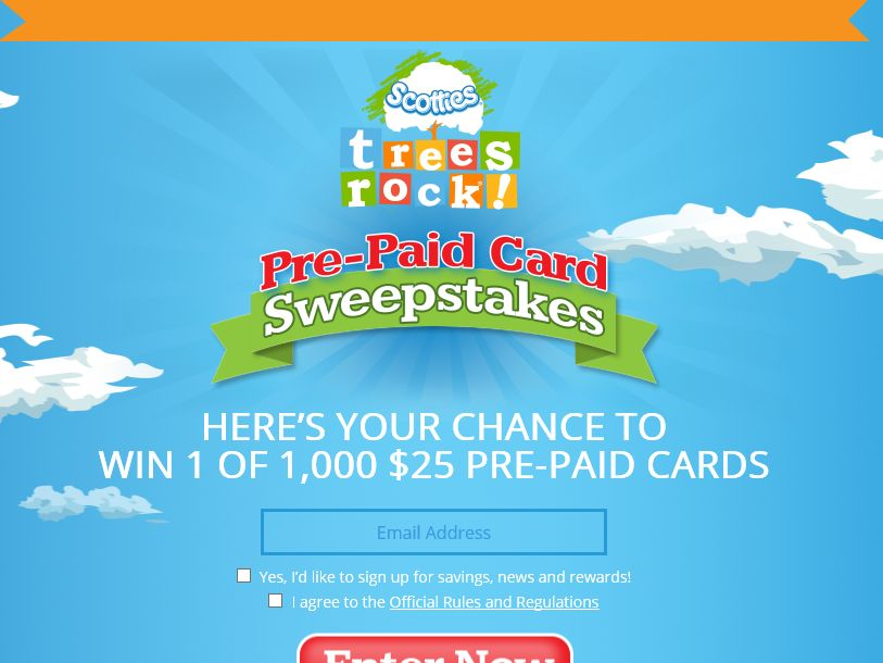 Scotties Trees Rock Pre-Paid Card Sweepstakes