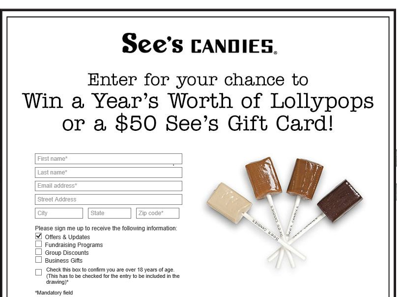 The SEE'S CANDIES LollyPop Day Sweepstakes