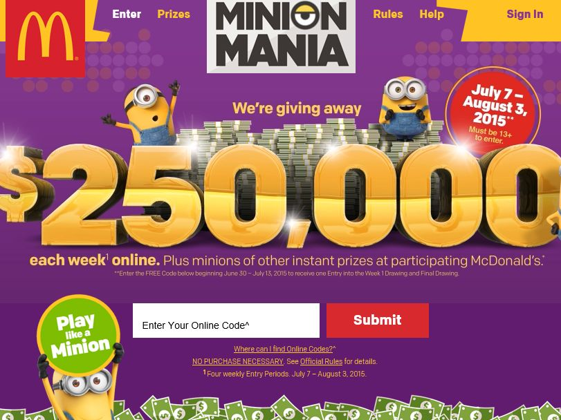 The McDonald's Minion Mania In-Store Game and Online Sweepstakes – Code Required