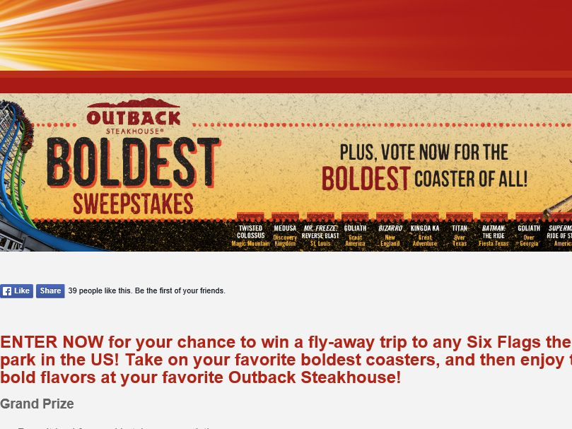 The Outback Steakhouse Boldest Sweepstakes
