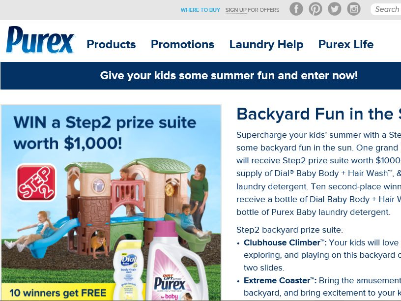 """The Purex """"Backyard Fun in the Sun"""" Sweepstakes"""