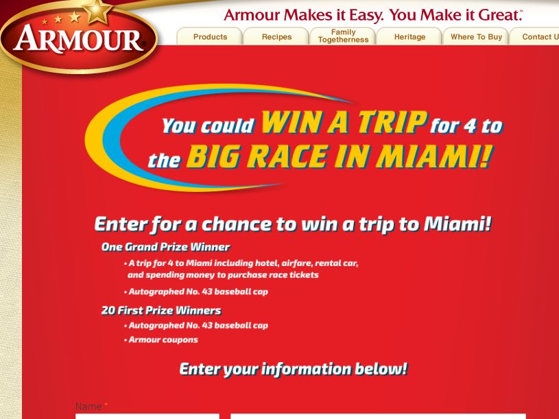 """Armour """"Enter to Win a Trip for 4 to the Big Race in Miami!"""" Sweepstakes"""