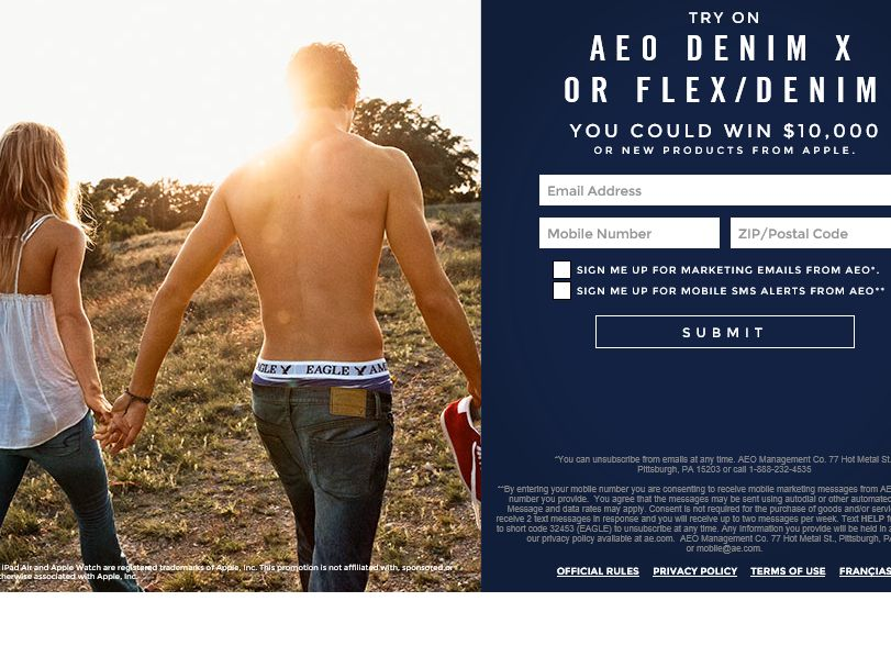 The AEO BTS 2015 Denim Try on Event Sweepstakes