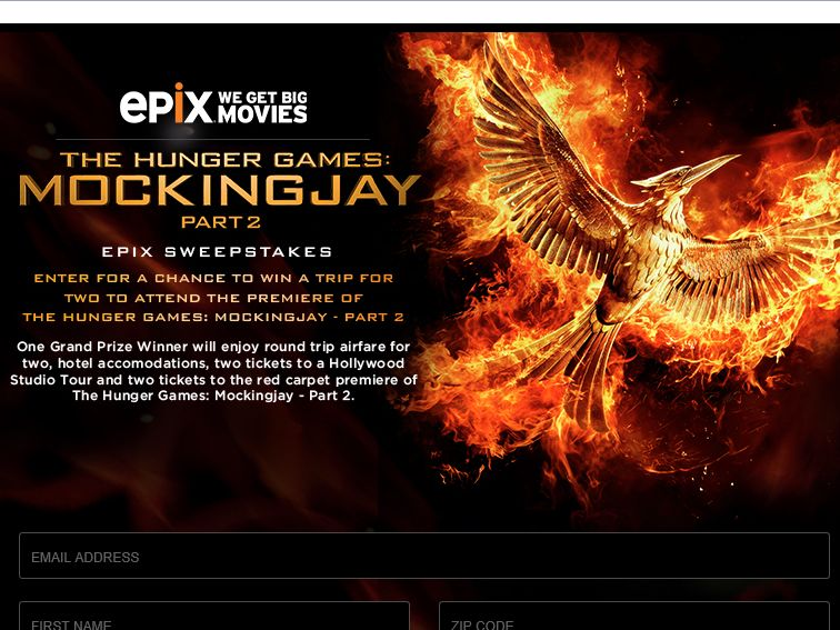 The Hunger Games: Mockingjay – Part 2 EPIX Sweepstakes