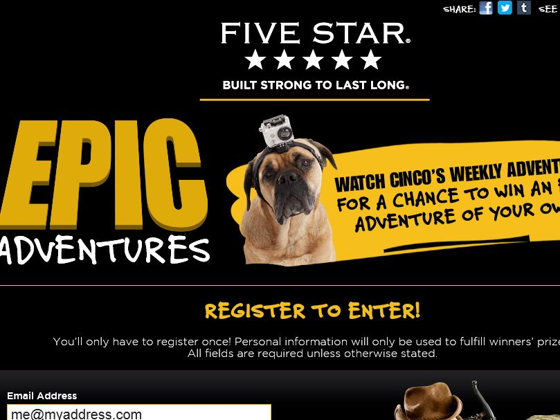 The Mead Five Star Epic Adventures Sweepstakes
