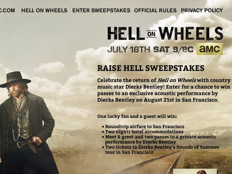 "AMC Hell on Wheels ""RAISE HELL"" Sweepstakes"