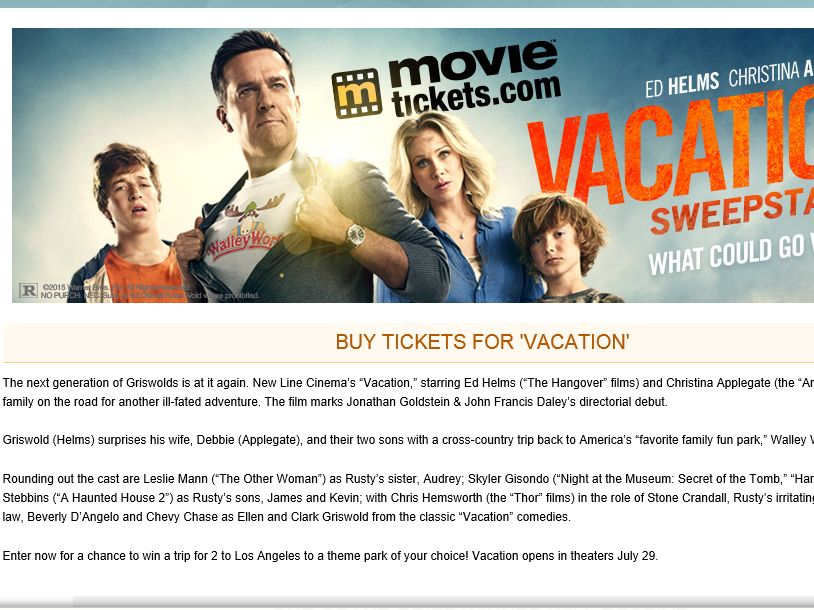 """MovieTickets.com's """"Vacation"""" Sweepstakes"""