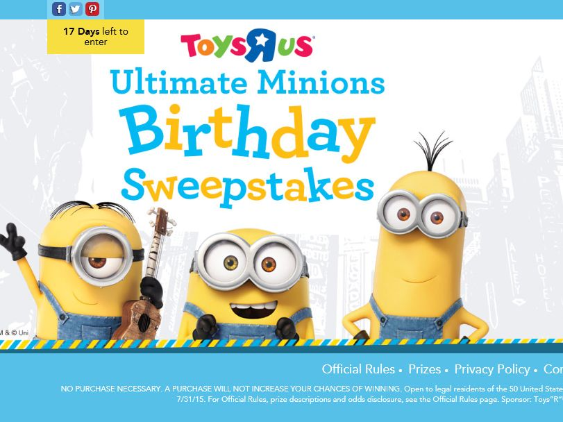 """The Toys""""R""""Us Ultimate Minions Birthday Sweepstakes"""