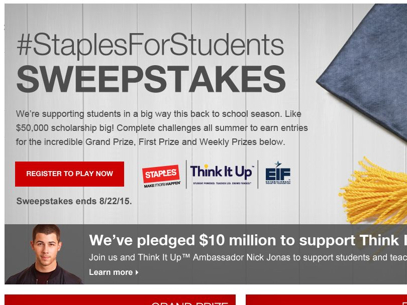The #StaplesForStudents Sweepstakes