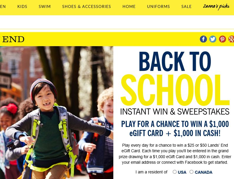 Lands' End Back-to-School Sweepstakes