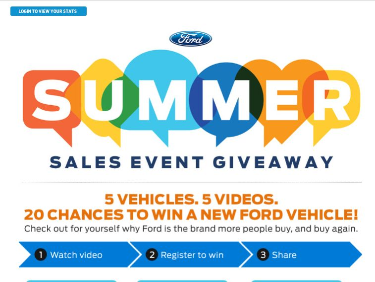 The 2015 Ford Summer Sales Event Giveaway Sweepstakes