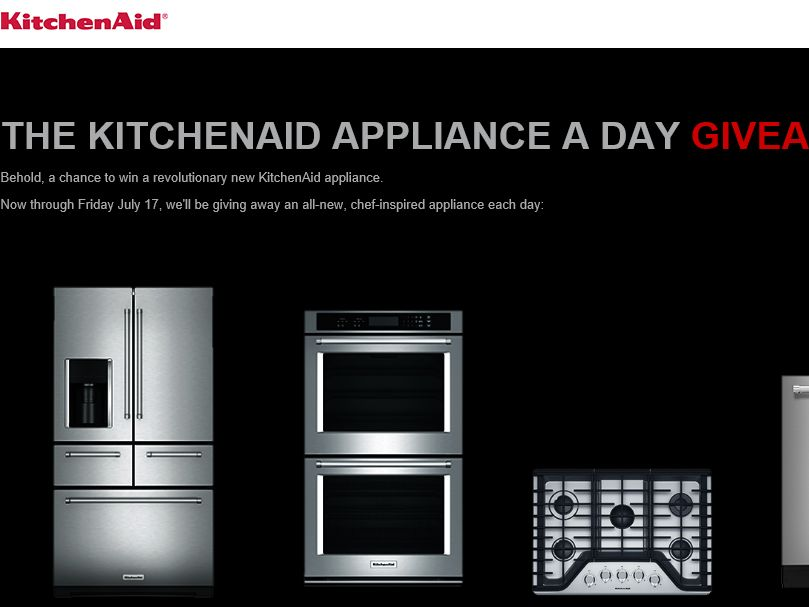 """The KitchenAid """"Appliance A Day Giveaway"""" Sweepstakes"""