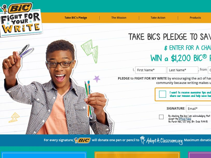 BIC Fight for Your Write Sweepstakes