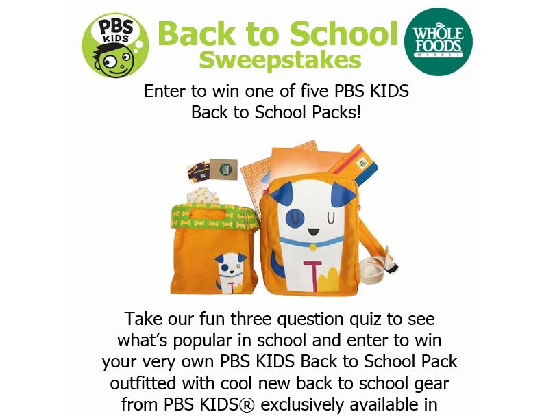 The PBS KIDS Back to School Sweepstakes