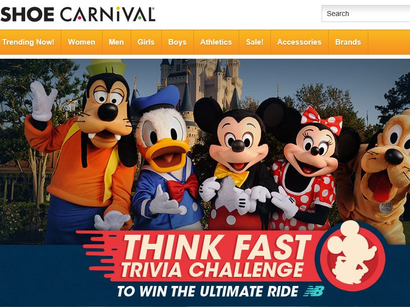 The Shoe Carnival Think Fast Trivia Challenge Sweepstakes