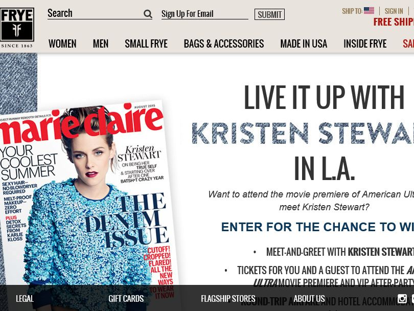 The Frye Company Live It Up With Kristen Stewart in L.A. Contest