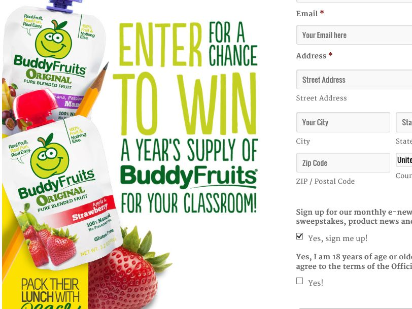The Buddy Fruits Back to School Sweepstakes