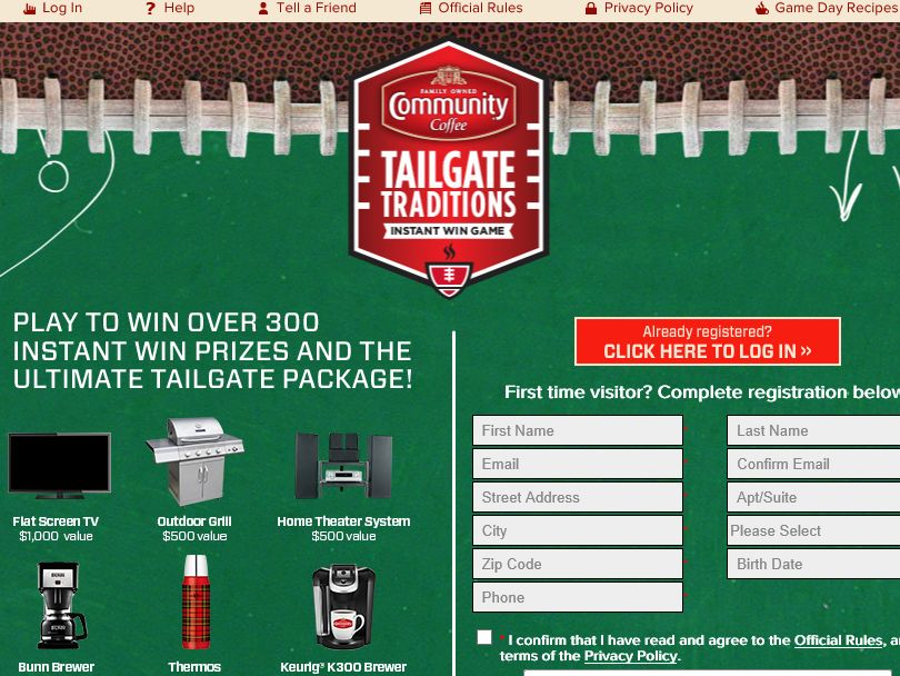 Community Coffee Tailgate Traditions Sweepstakes