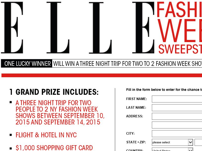 ELLE Fashion Week Sweepstakes