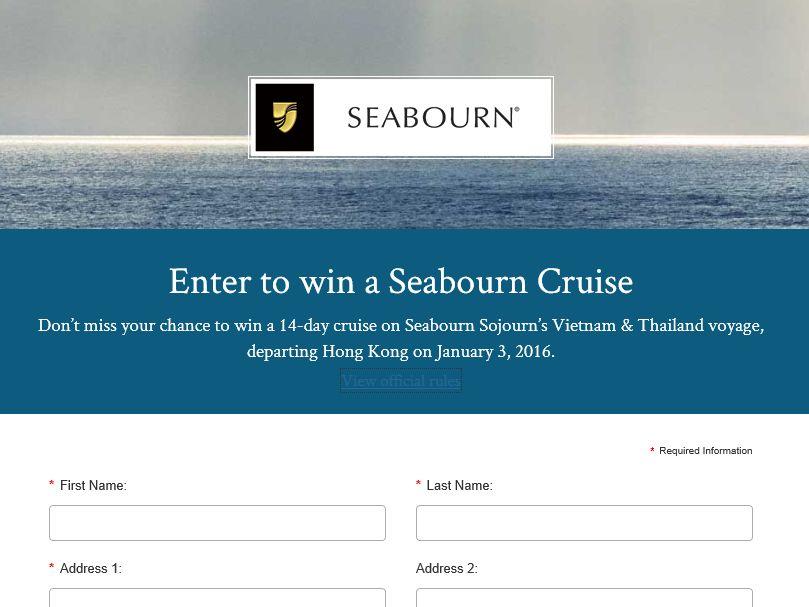 2015 Seabourn Food & Wine Cruise Sweepstakes