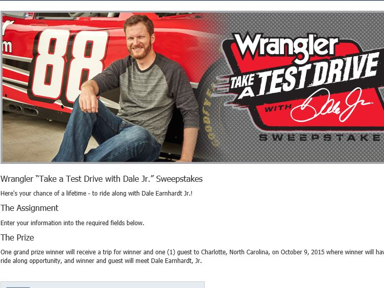 "Wrangler ""Take a Test Drive with Dale Jr."" Sweepstakes"