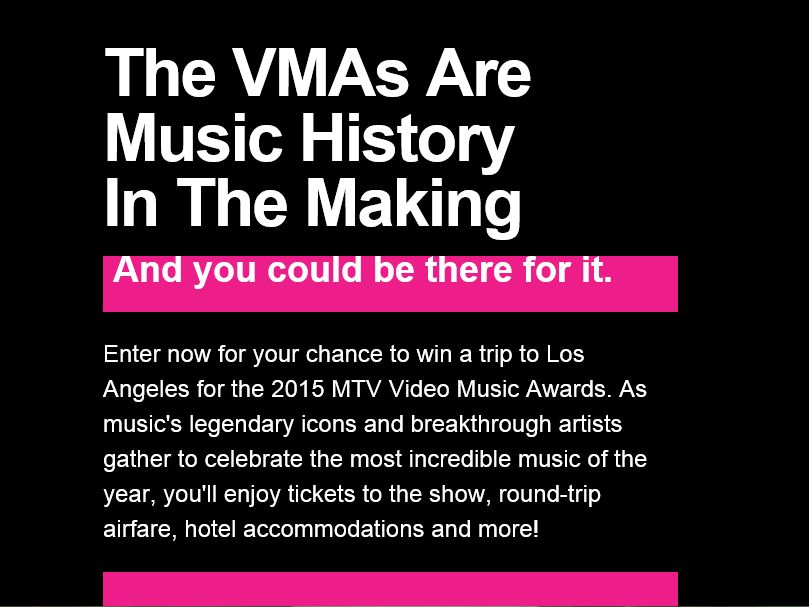 2015 MTV Video Music Awards Sweepstakes