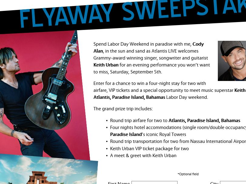 Keith urban at atlantis labor day weekend flyway sweepstakes m4hsunfo