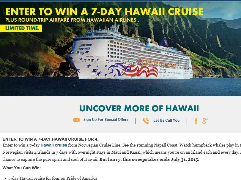 Norwegian Cruise Line / Hawaiian Airlines Sweepstakes