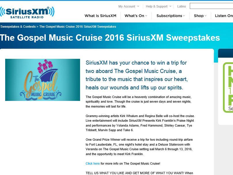 The SiriusXM Gospel Music Cruise 2016 Sweepstakes