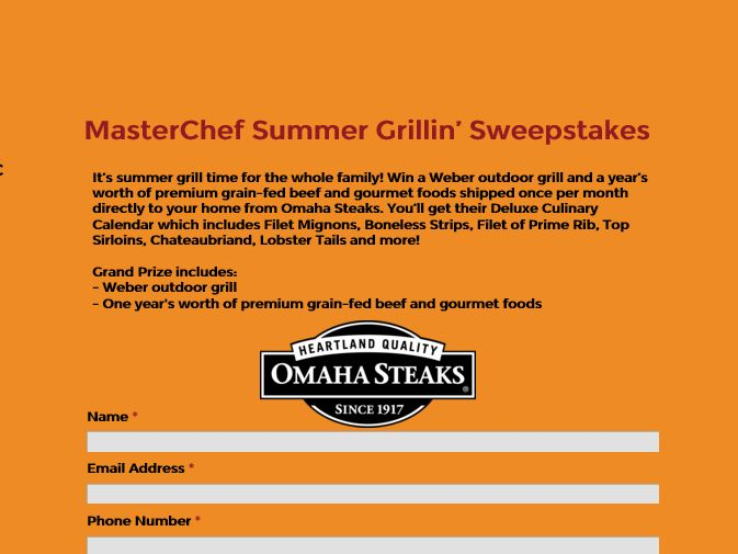 The FOX MASTERCHEF Summer Grillin' Sweepstakes