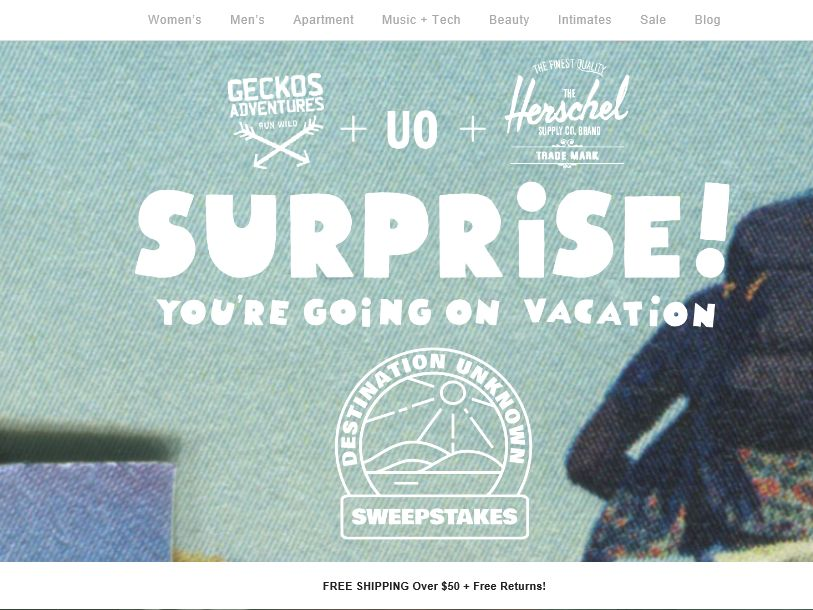 """The Urban Outfitters """"Destination Unknown"""" Sweepstakes"""