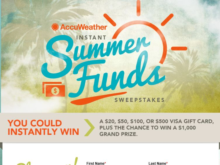 The AccuWeather Instant Summer Funds Sweepstakes