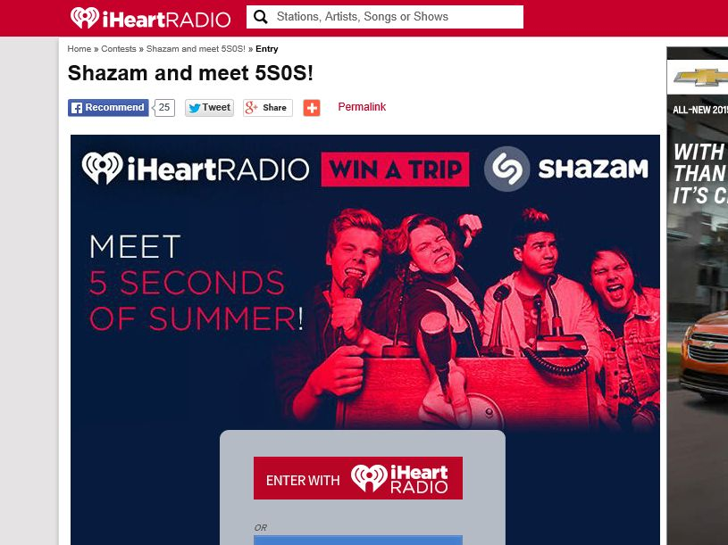 Iheartradio shazam your way see 5 seconds of summer sweepstakes m4hsunfo